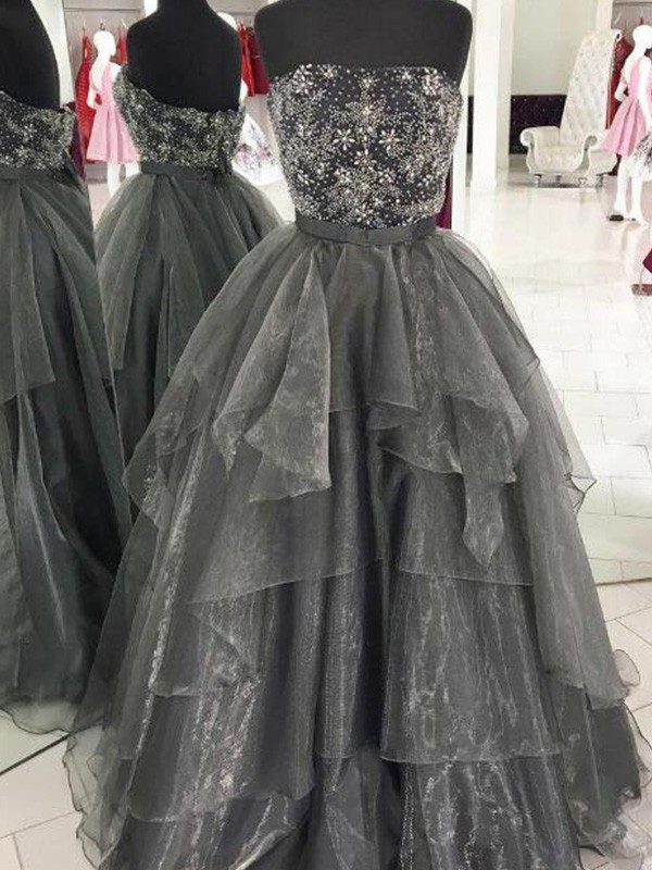 Ball Gown Beading Strapless Floor-Length Organza Dresses