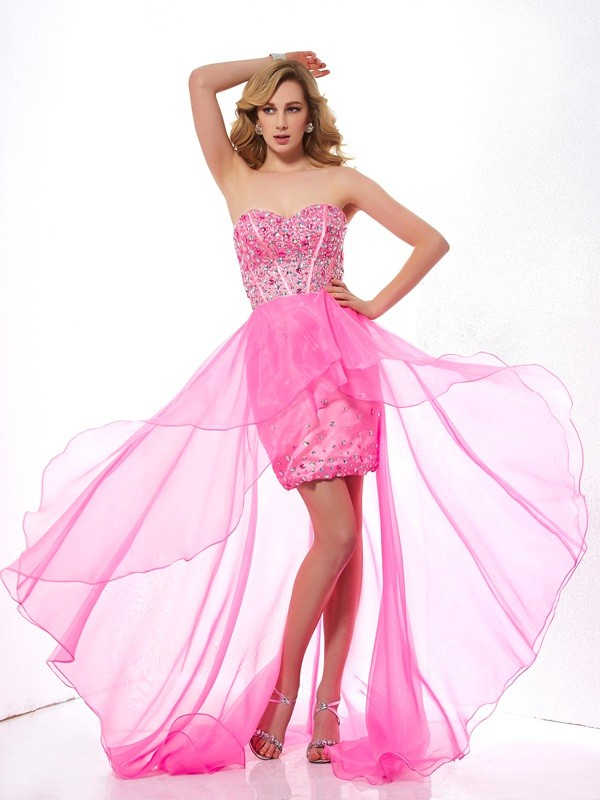 A-Line/Princess Sweetheart Sleeveless Beading High Low Organza Dresses
