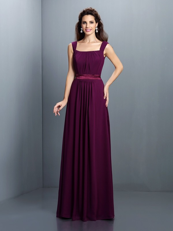 A-Line/Princess Square Pleats Sleeveless Long Chiffon Bridesmaid Dresses