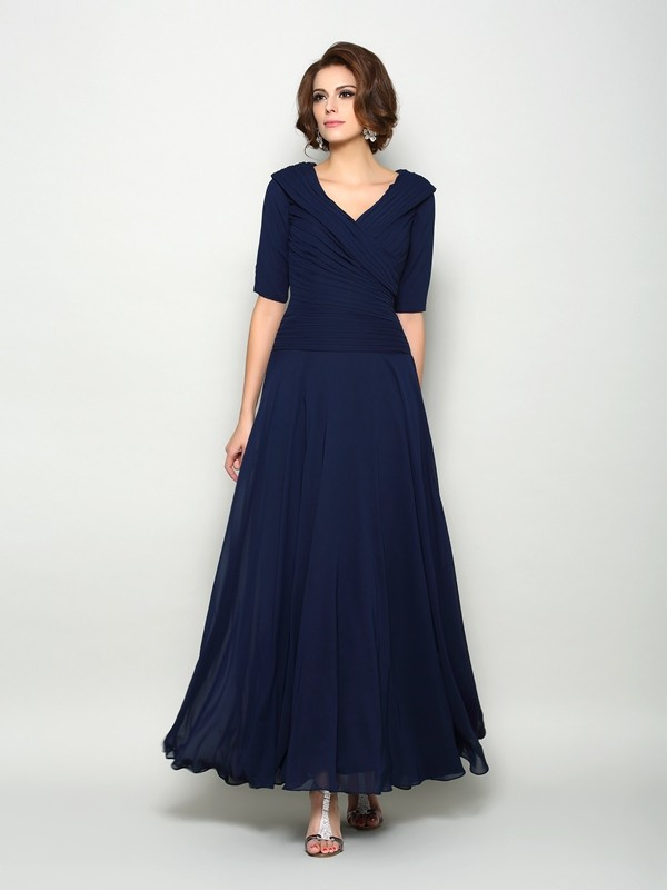 A-Line/Princess V-neck 1/2 Sleeves Long Chiffon Mother of the Bride Dresses