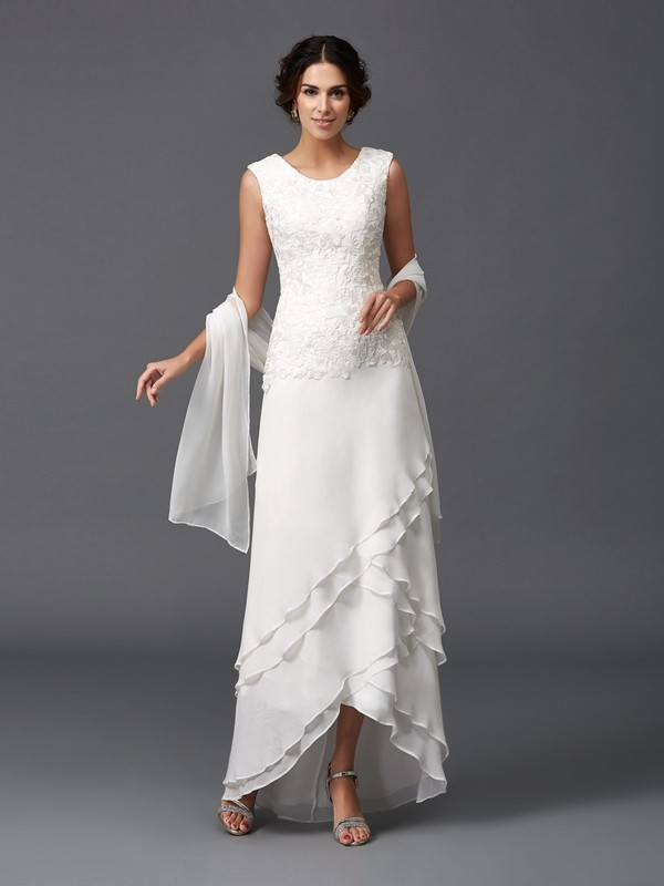 A-Line/Princess Scoop Lace Sleeveless Long Chiffon Mother of the Bride Dresses