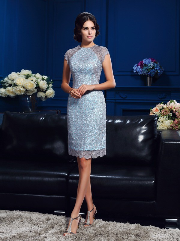 Sheath/Column Scoop Lace Short Sleeves Short Satin Mother of the Bride Dresses