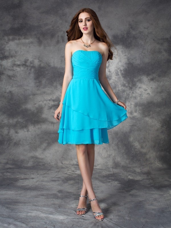 A-line/Princess Strapless Ruffles Sleeveless Short Chiffon Bridesmaid Dresses