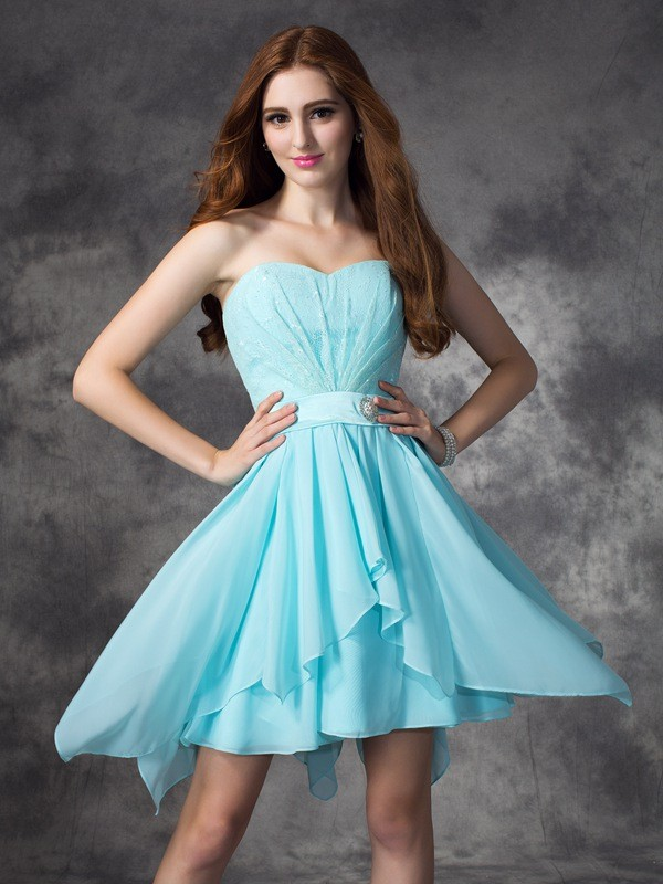A-line/Princess Sweetheart Ruffles Sleeveless Short Chiffon Bridesmaid Dresses