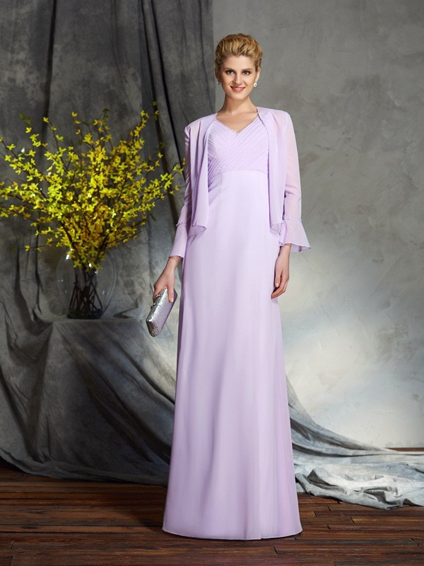 Sheath/Column V-neck Applique Sleeveless Long Chiffon Mother of the Bride Dresses