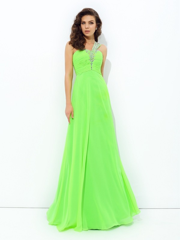 A-line/Princess One-Shoulder Rhinestone Sleeveless Long Chiffon Dresses
