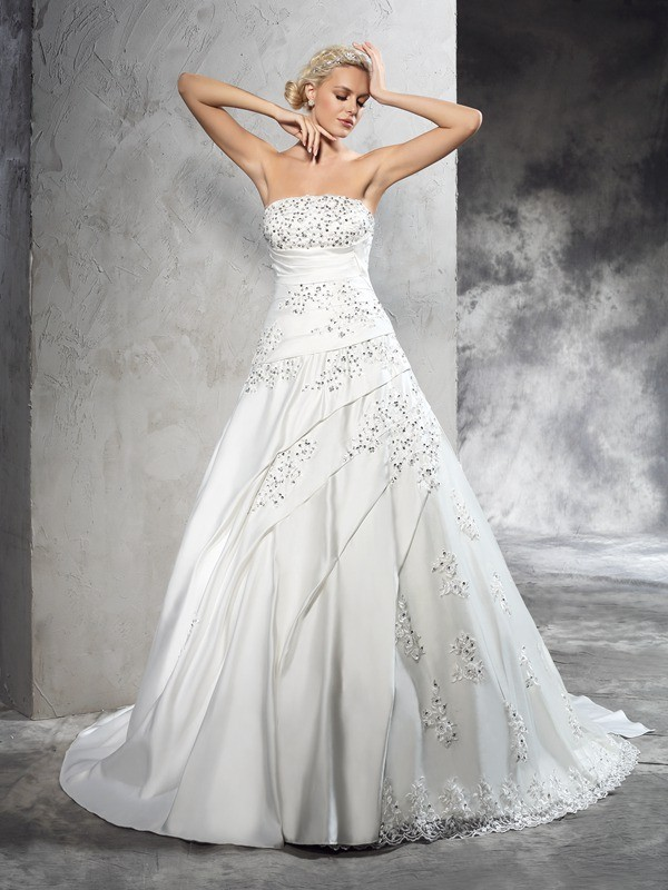 Ball Gown Strapless Beading Sleeveless Long Satin Wedding Dresses