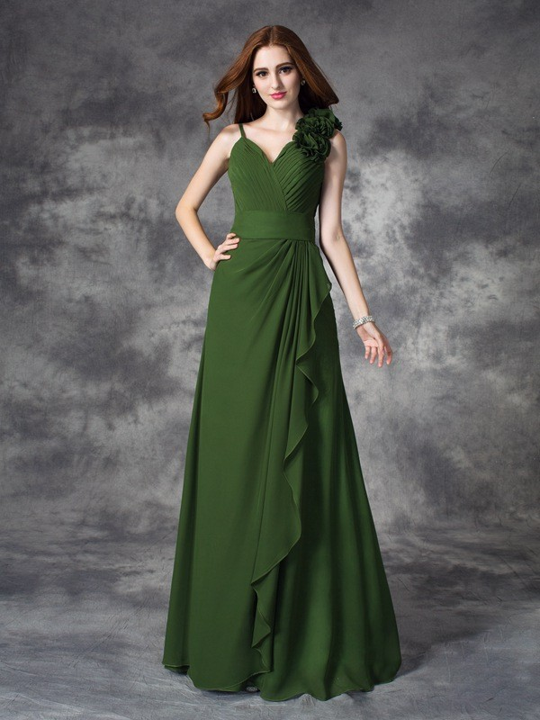 A-line/Princess V-neck Hand-Made Flower Sleeveless Long Chiffon Bridesmaid Dresses