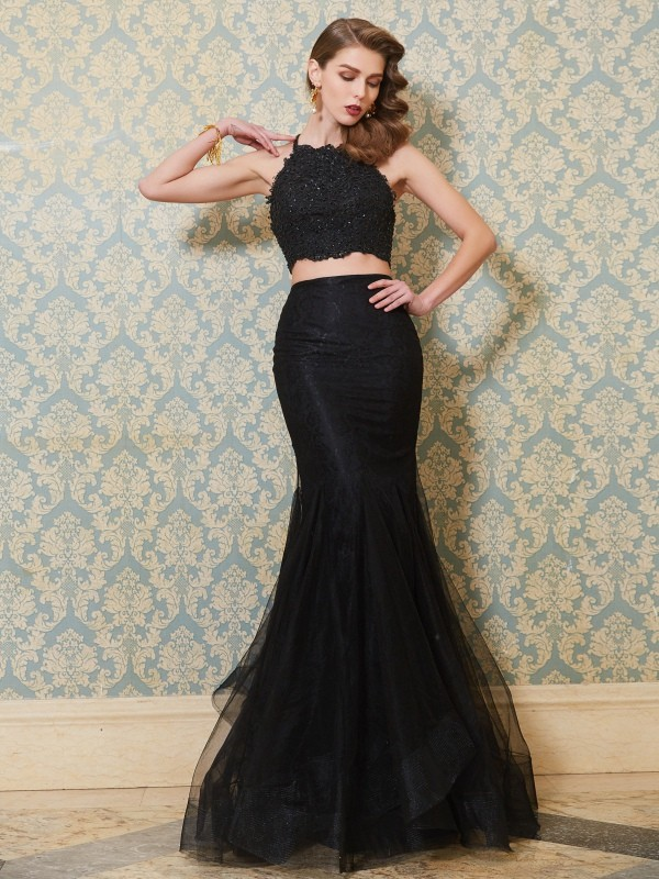 Trumpet/Mermaid Spaghetti Straps Sleeveless Applique Floor-Length Tulle Two Piece Dresses