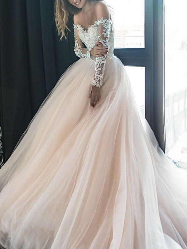 A-Line Off-the-Shoulder Long Sleeves Court Train Applique Tulle Wedding Dresses