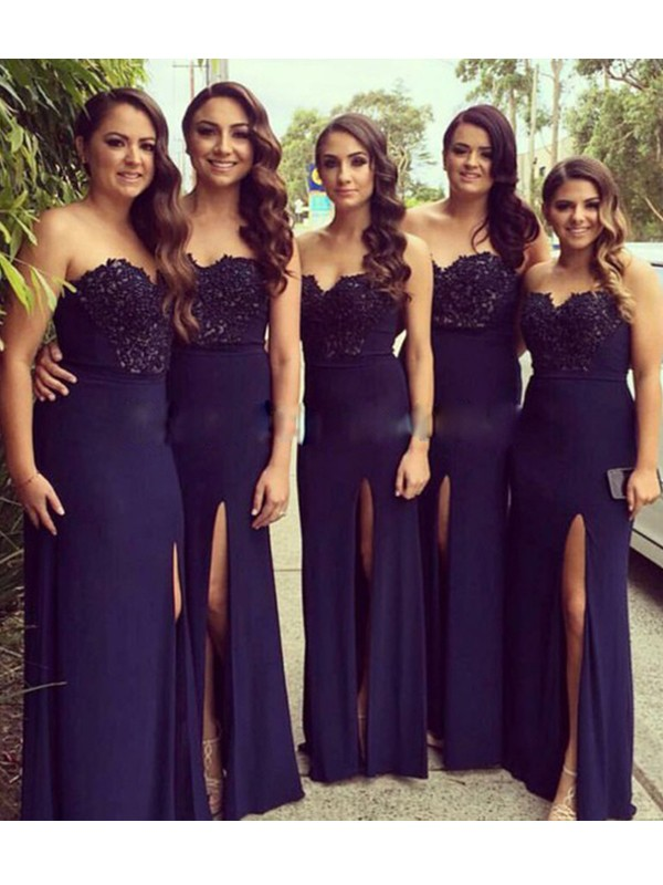 A-Line Sweetheart Sleeveless Floor-Length Lace Spandex Bridesmaid Dress