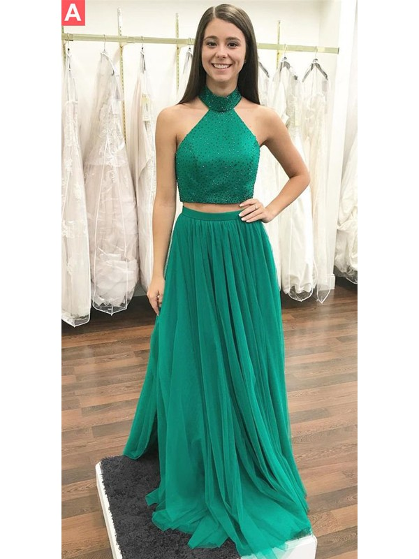 A-Line Halter Sleeveless Floor-Length Beading Tulle Two Piece Dresses