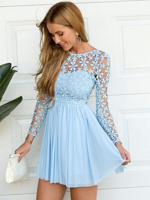 A-Line/Princess Scoop Long Sleeves Lace Short/Mini Chiffon Dresses