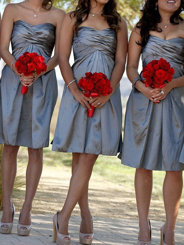 Sheath/Column Sweetheart Sleeveless Satin Short/Mini Bridesmaid Dresses