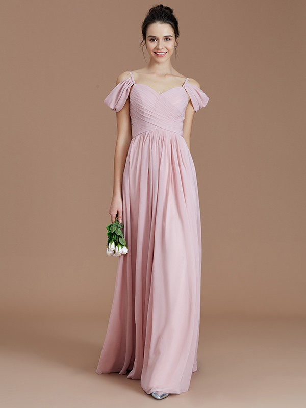 13f32837df9 A-Line Off-the-Shoulder Sleeveless Ruched Floor-Length Chiffon Bridesmaid  Dresses