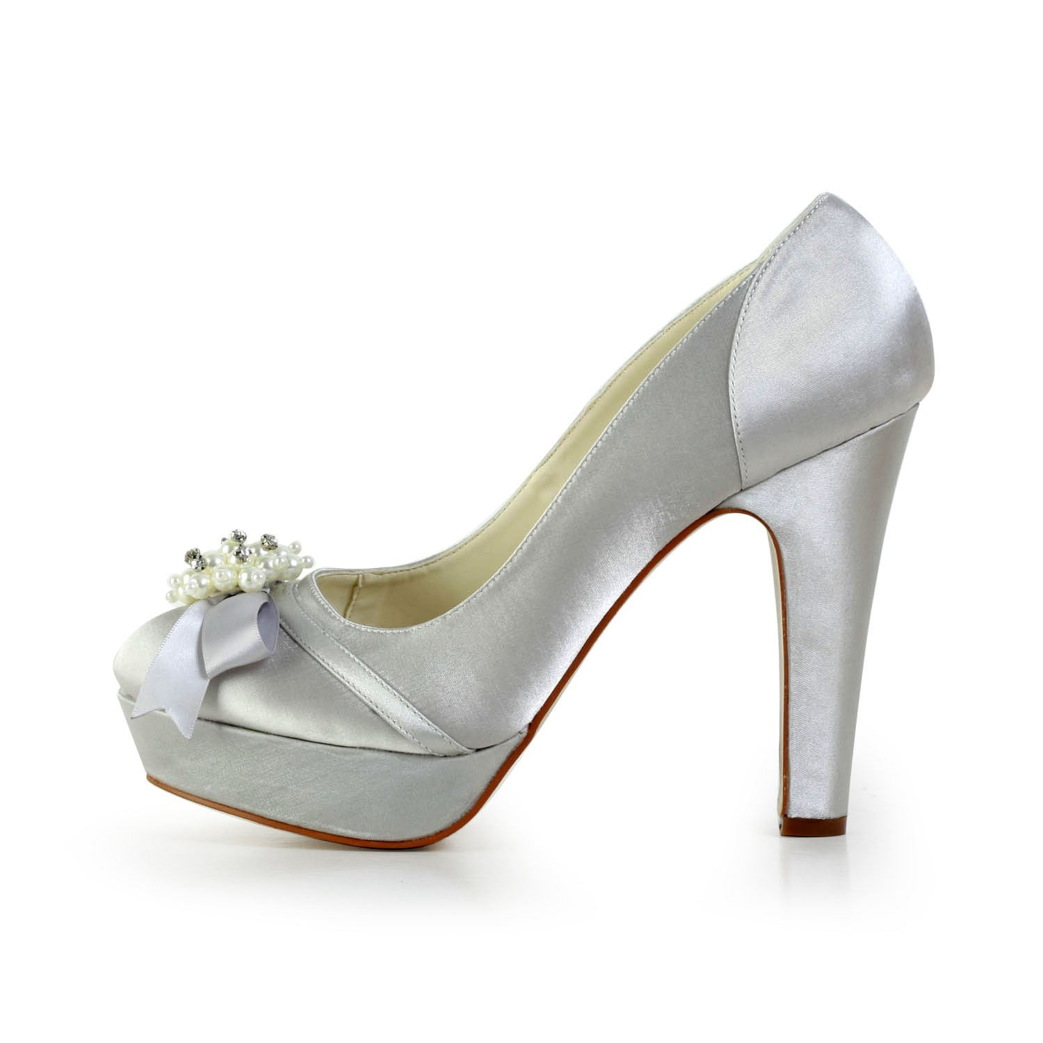 1 Inch Heels For Wedding: Women's Satin Chunky Heel Closed Toe Platform Silver