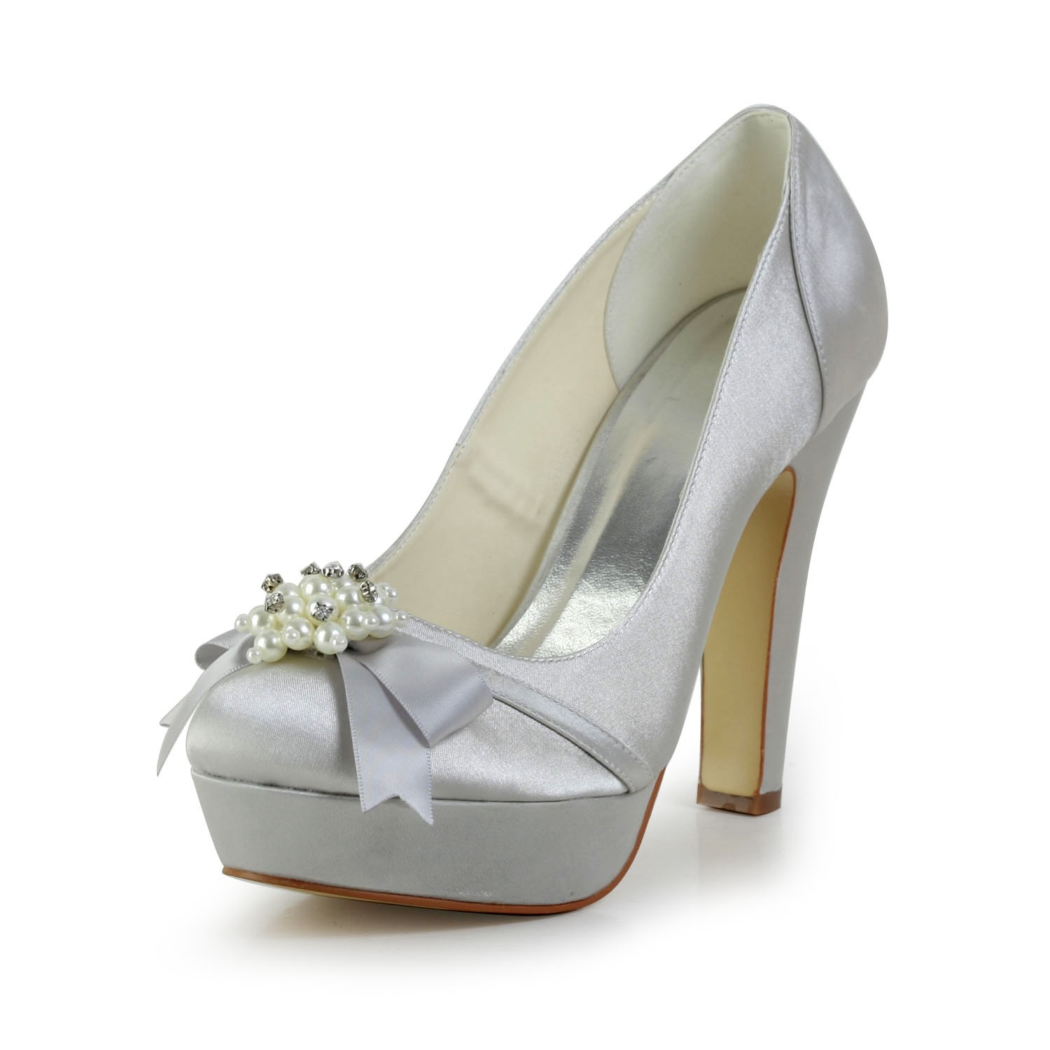 45858ee2bf3 Women s Satin Chunky Heel Closed Toe Platform Silver Wedding Shoes With  Bowknot