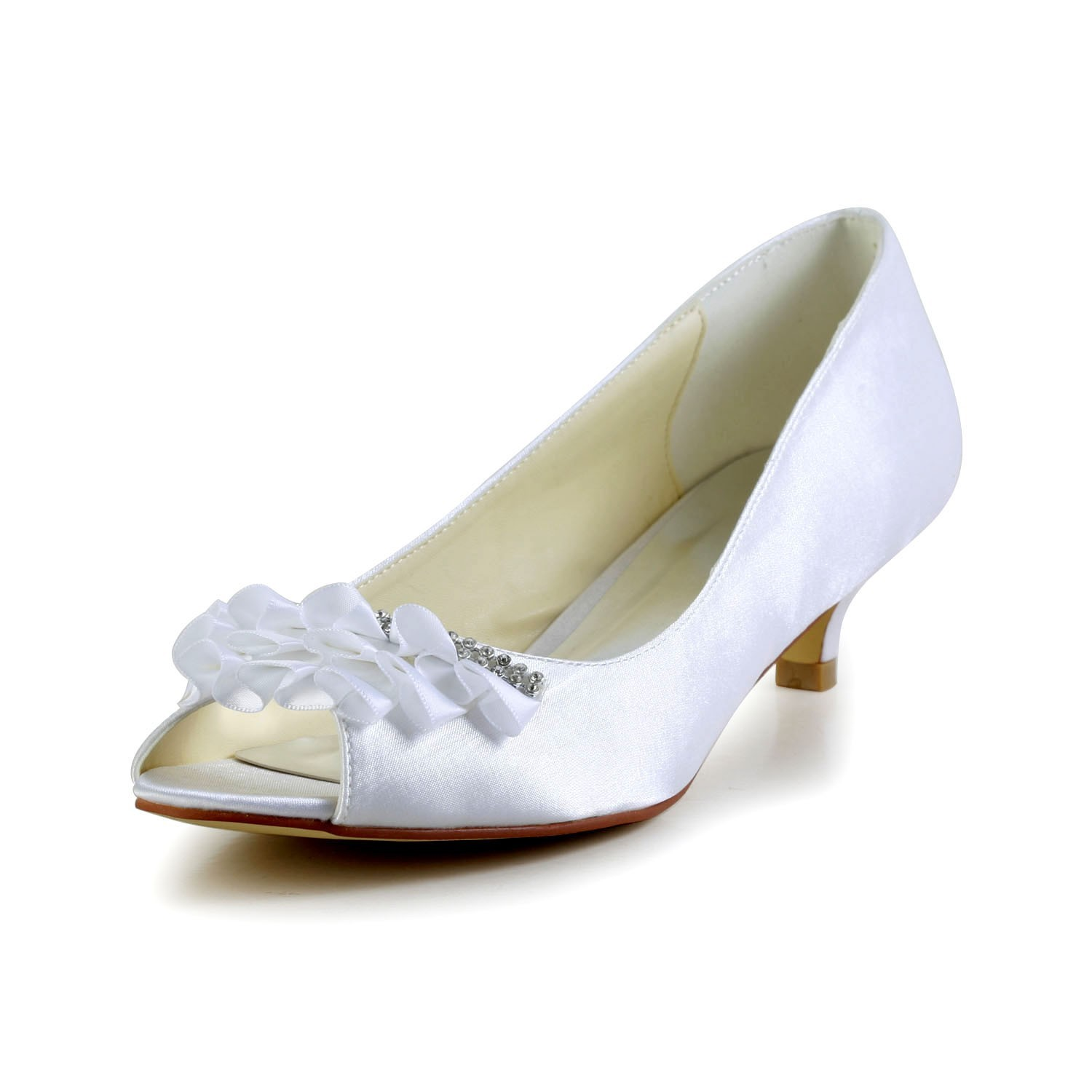 low heel wedding shoes with rhinestones women s satin kitten heel peep toe sandals wedding shoes 5618