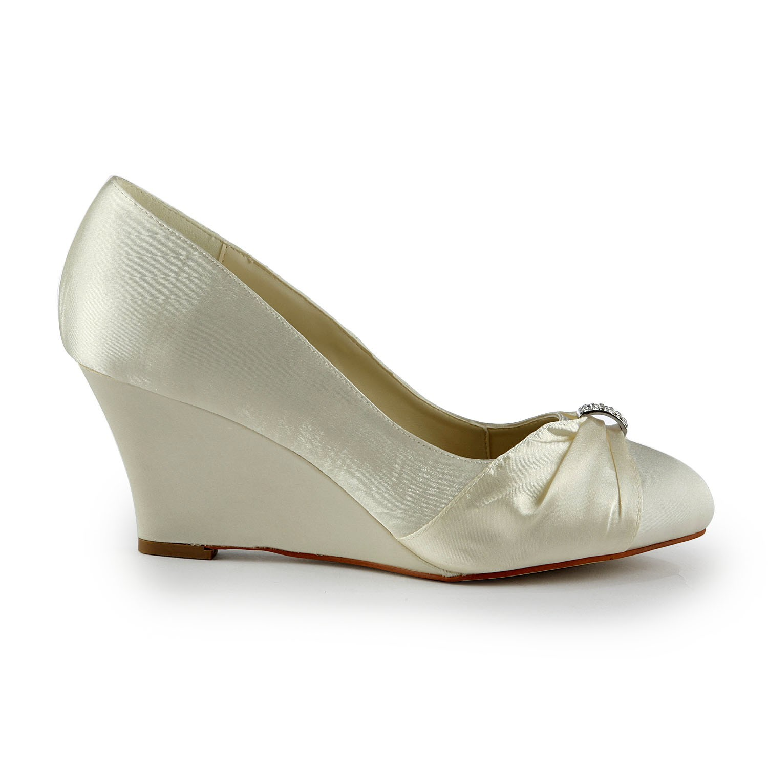 Wedge Heel Shoes For Wedding: Women's Satin Wedge Heel Wedges With Rhinestone Wedding