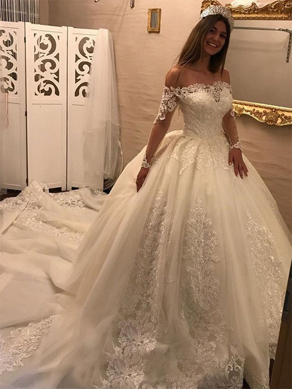in stock free delivery info for Ball Gown Off-the-Shoulder Long Sleeves Cathedral Train Tulle ...