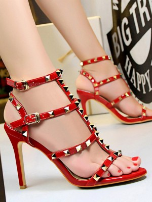 Rivet Stiletto Heel Peep Toe Sandals