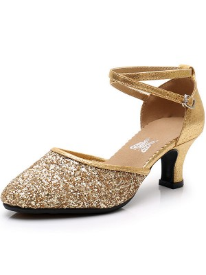 Sparkling Glitter Cone Heel Closed Toe Sandals