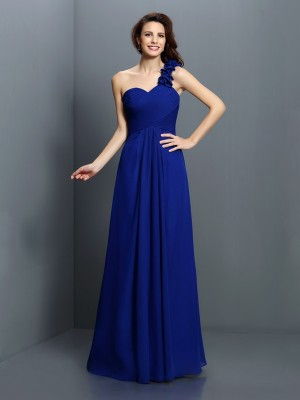 A-Line/Princess One-Shoulder Hand-Made Flower Sleeveless Long Chiffon Bridesmaid Dresses
