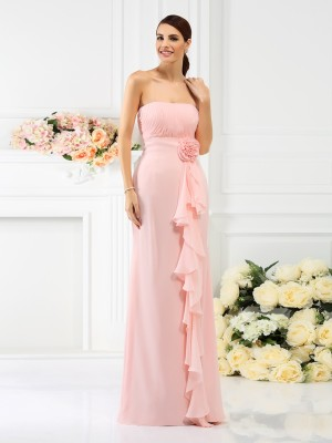 Sheath/Column Strapless Hand-Made Flower Sleeveless Long Chiffon Bridesmaid Dresses