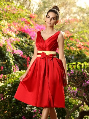 A-Line/Princess V-neck Pleats Sash/Ribbon/Belt Sleeveless Short Satin Bridesmaid Dresses