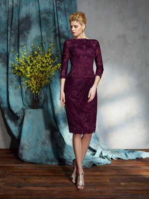 Sheath/Column Bateau Lace 3/4 Sleeves Short Lace Mother of the Bride Dresses