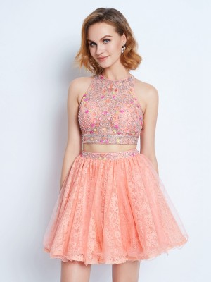 A-Line/Princess Jewel Sleeveless Lace Beading Short/Mini Two Piece Dresses