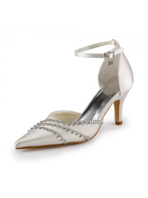 Women's Nice Satin Stiletto Heel Closed Toe Champagne Wedding Shoes With Buckle