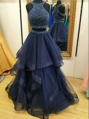 A-Line Sleeveless Halter Tulle Beading Floor-Length Two Piece Dresses