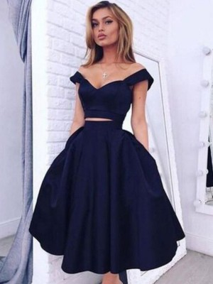 A-Line Off-the-Shoulder Sleeveless Tea-Length Satin Two Piece Dress