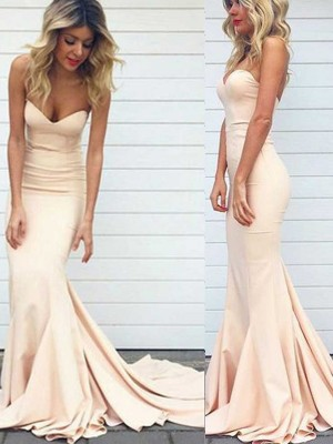 Trumpet/Mermaid Sweetheart Sleeveless Satin Sweep/Brush Train Dresses