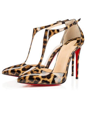 Women's Leopard Print Patent Leather Stiletto Heel Sandals Shoes