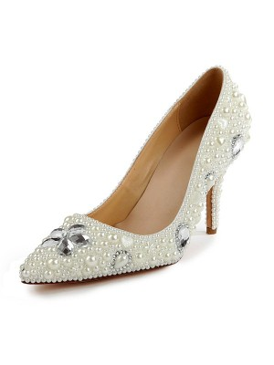Women's Patent Leather Closed Toe Stiletto Heel With Pearl White Wedding Shoes