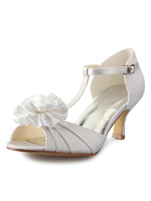 Women's Satin Stiletto Heel T-Strap Peep Toe With Flower Dance Shoes