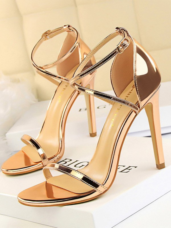 Patent Leather Stiletto Heel Peep Toe Sandals