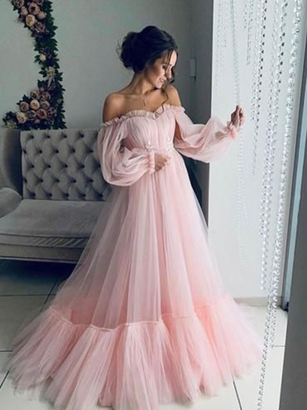 A-Line Tulle Applique Off-the-Shoulder Long Sleeves Sweep/Brush Train Dresses