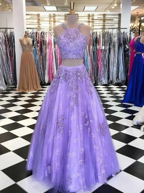 A-Line Tulle Beading Halter Floor-Length Two Piece Dresses