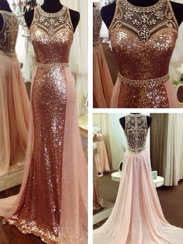 A-Line Beading Sequins Scoop Sweep/Brush Train Dresses