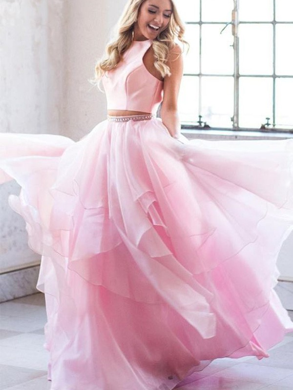A-Line Beading Scoop Tulle Floor-Length Two Piece Dresses
