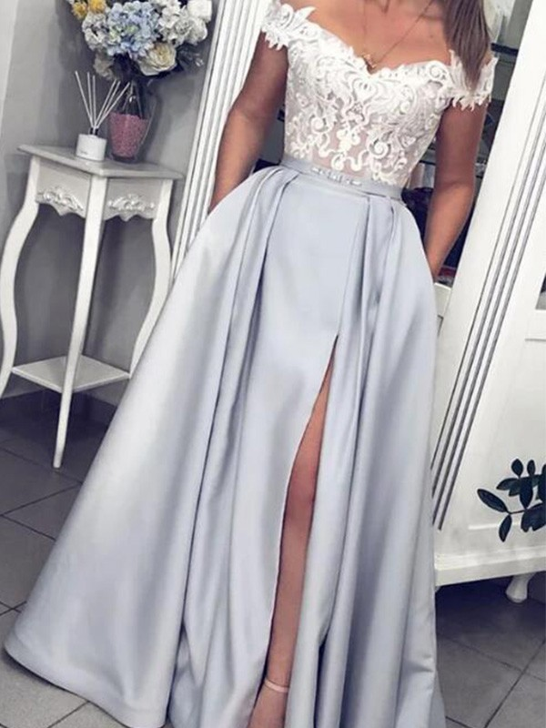A-Line Satin Lace Off-the-Shoulder Floor-Length Dresses
