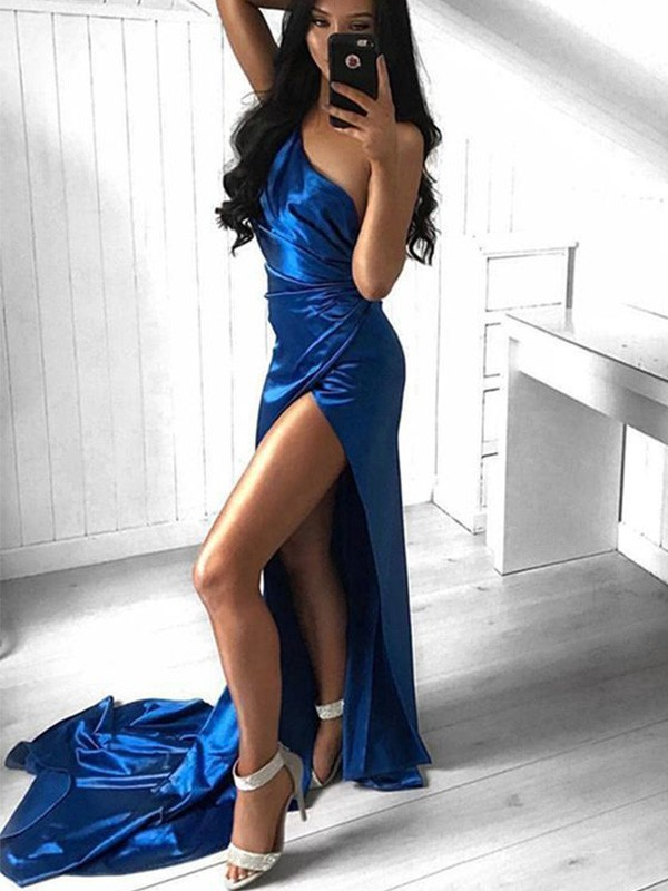 Sheath Ruched One-Shoulder Court Train Elastic Woven Satin Dresses