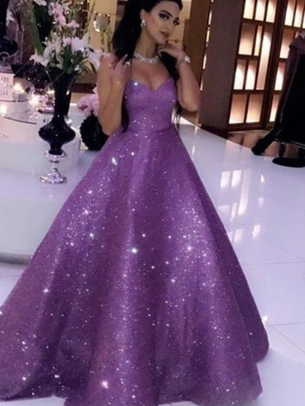 Ball Gown Sweetheart Sleeveless Sweep/Brush Train Sequins Ruffles Dresses