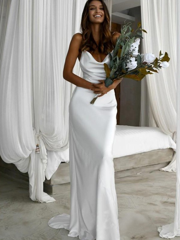 Sheath Spaghetti Straps Sweep/Brush Train Sleeveless Silk like Satin Ruched Wedding Dresses