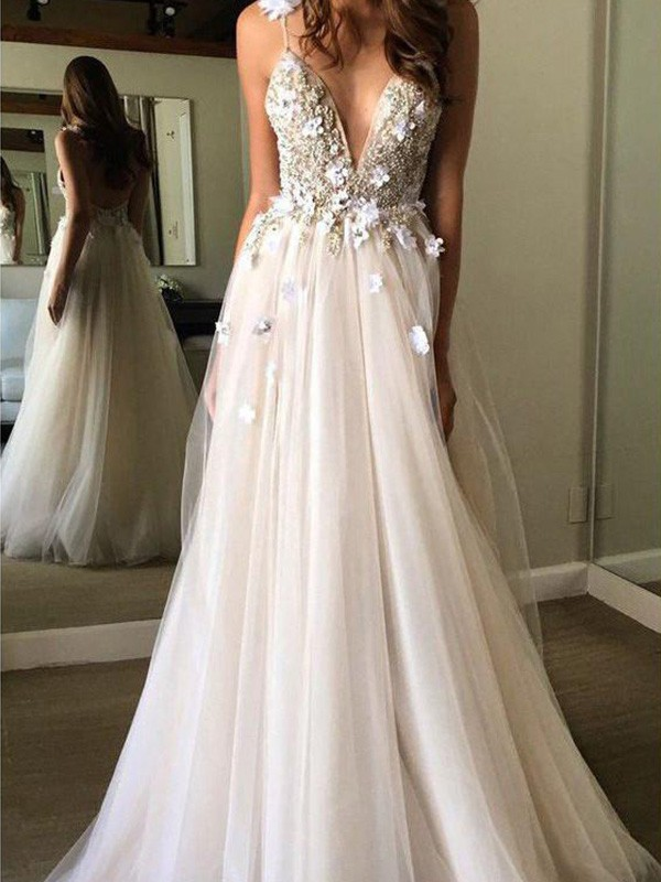 A-Line V-neck Sleeveless Floor-Length Tulle Beading Wedding Dresses