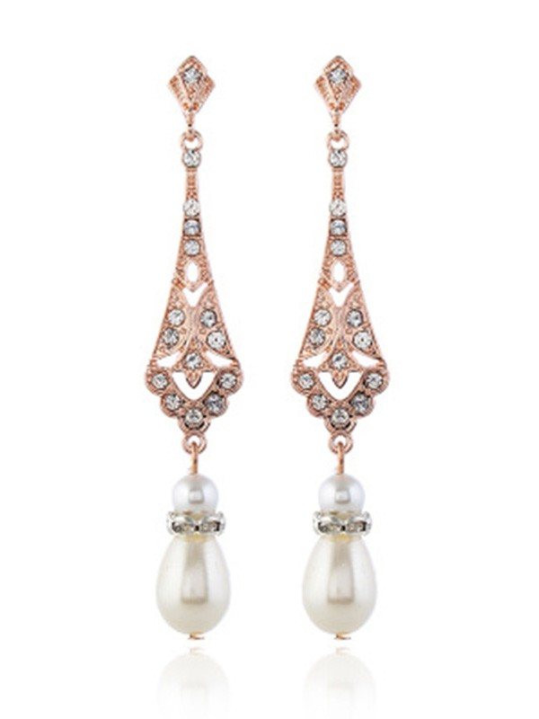 Pretty Alloy With Pearl Earrings