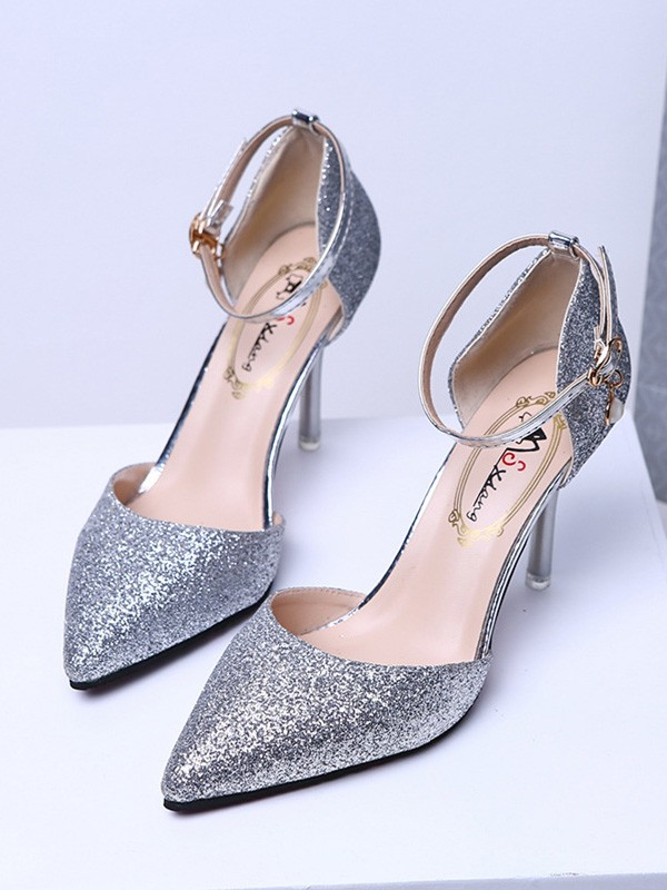 Closed Toe Sparkling Glitter Stiletto Heel High Heels